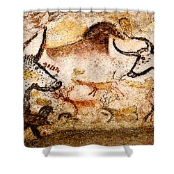 Lascaux Hall Of The Bulls - Deer And Aurochs Shower Curtain