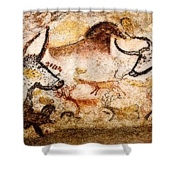 Lascaux Hall Of The Bulls - Deer Between Aurochs Shower Curtain