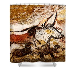 Lascaux Hall Of The Bulls - Horses And Aurochs Shower Curtain