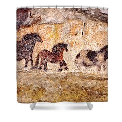 Lascaux Horses Shower Curtain
