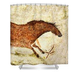 Lascaux Red Horse Shower Curtain