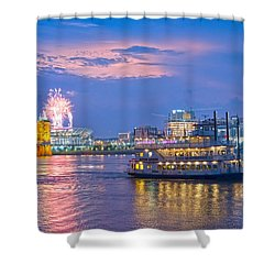 Laser Show Over Paul Brown Stadium  Shower Curtain