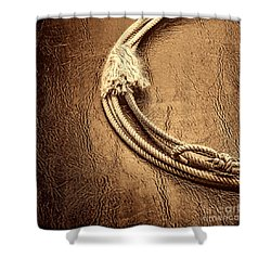 Lasso On Leather Shower Curtain by American West Legend By Olivier Le Queinec