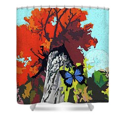 Last Butterfly Before Winter Shower Curtain