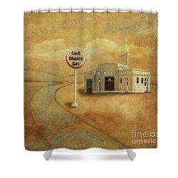 Shower Curtain featuring the digital art Last Chance Gas by Lois Bryan