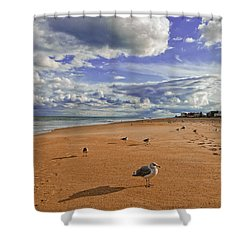 Last Day At The Beach Shower Curtain by Jim Moore