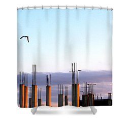 Last Flight Out Shower Curtain