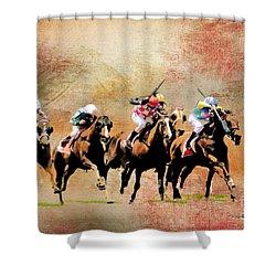 Last Furlong Shower Curtain by Roger Lighterness