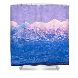 Shower Curtain featuring the digital art Last Light On Mount Peale From Buck Canyon Overlook by Kai Saarto