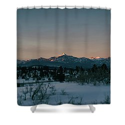 Last Light On Pagosa Peak Shower Curtain by Jason Coward