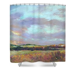 Last Light Over The Hills. France Shower Curtain by Rae Andrews