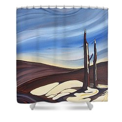 Shower Curtain featuring the painting Last Snow by Pat Purdy