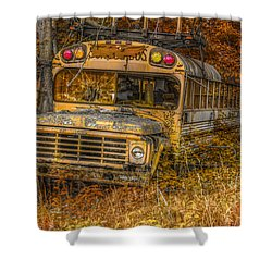 Last Stop School Bus Shower Curtain