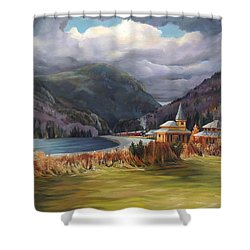 Last Train To Crawford Notch Depot Shower Curtain