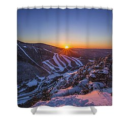 Last Winter Sunset Over Cannon Mountain Shower Curtain