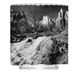 Late Afternoon At The Court Of The Patriarchs - Bw Shower Curtain by Christopher Holmes