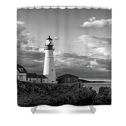 Late Afternoon Clouds, Portland Head Light  -98461 Shower Curtain
