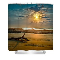 Shower Curtain featuring the photograph Late Afternoon Costa Rican Beach Scene by Rikk Flohr