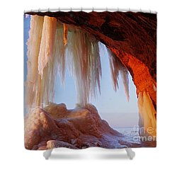 Shower Curtain featuring the photograph Late Afternoon In An Ice Cave by Larry Ricker