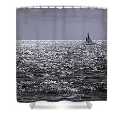 Sailboat Off The Coast At San Diego Shower Curtain