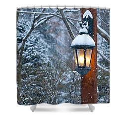Late Afternoon Snow Shower Curtain by Sandra Bronstein