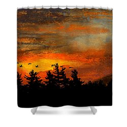 Late Autumn Travelers Shower Curtain by R Kyllo