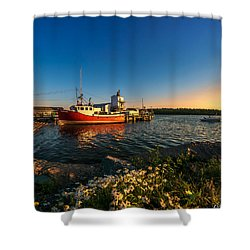 Late In The Day At Fisherman's Cove  Shower Curtain by Ken Morris