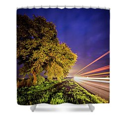 Late Night Texas Country Road Traffic Light Trails Shower Curtain