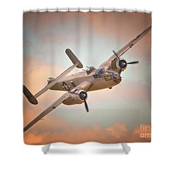 Late Return,north American B-25 Mitchell  Shower Curtain