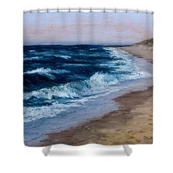 Shower Curtain featuring the painting Late Spring At Cold Storage Beach by Jack Skinner