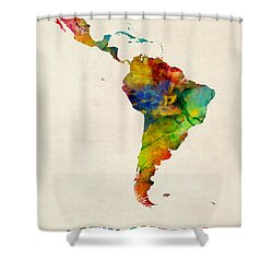 Latin America Watercolor Map Shower Curtain
