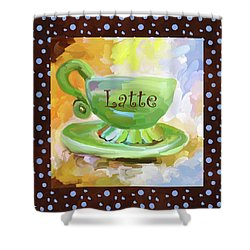 Latte Coffee Cup With Blue Dots Shower Curtain by Jai Johnson