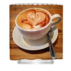 Latte Love Shower Curtain by Susan Garren
