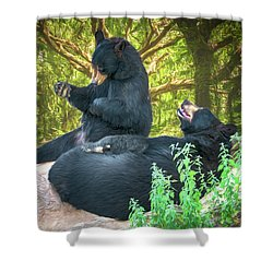 Shower Curtain featuring the painting Laughing Bears by John Haldane