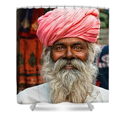 Laughing Indian Man In Turban Shower Curtain