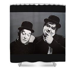 Laurel And Hardy Shower Curtain by Paul Meijering