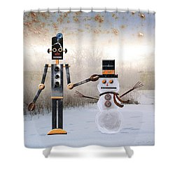 Laurence Builds A Snowman Shower Curtain by Joan Ladendorf