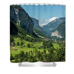 Lauterbrunnen Mountain Valley - Swiss Alps - Switzerland Shower Curtain by Gary Whitton
