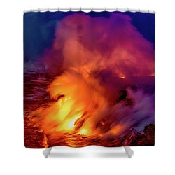 Shower Curtain featuring the photograph Lava And Ocean At Dawn by Allen Biedrzycki