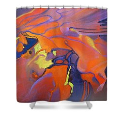 Shower Curtain featuring the painting Lava Dance by Rae Andrews