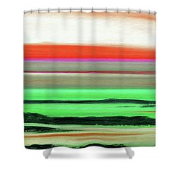 Lava Rock Abstract Panoramic Sunset In Red And Green Shower Curtain