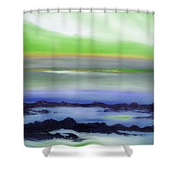 Lava Rock Abstract Sunset In Blue And Green Shower Curtain