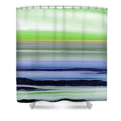 Lava Rock Panoramic Sunset In Green And Blue Shower Curtain