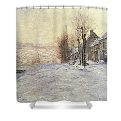 Lavacourt Under Snow Shower Curtain by Claude Monet