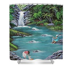 Lavando Ropa    Washing Clothes Shower Curtain