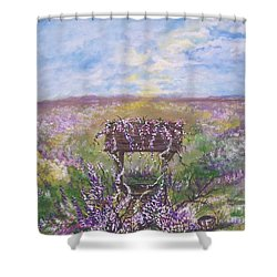Shower Curtain featuring the painting Lavendar Wishes by Leslie Allen