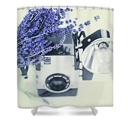Shower Curtain featuring the photograph Lavender And Kodak Brownie Camera by Stephanie Frey