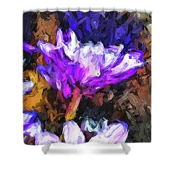 Lavender And White Flower With Reflection Shower Curtain
