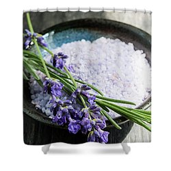 Shower Curtain featuring the photograph Lavender Bath Salts In Dish by Elena Elisseeva