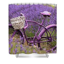 Lavender Bike Shower Curtain